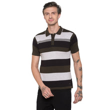 Load image into Gallery viewer, Globus Olive Striped Polo T-Shirt-1