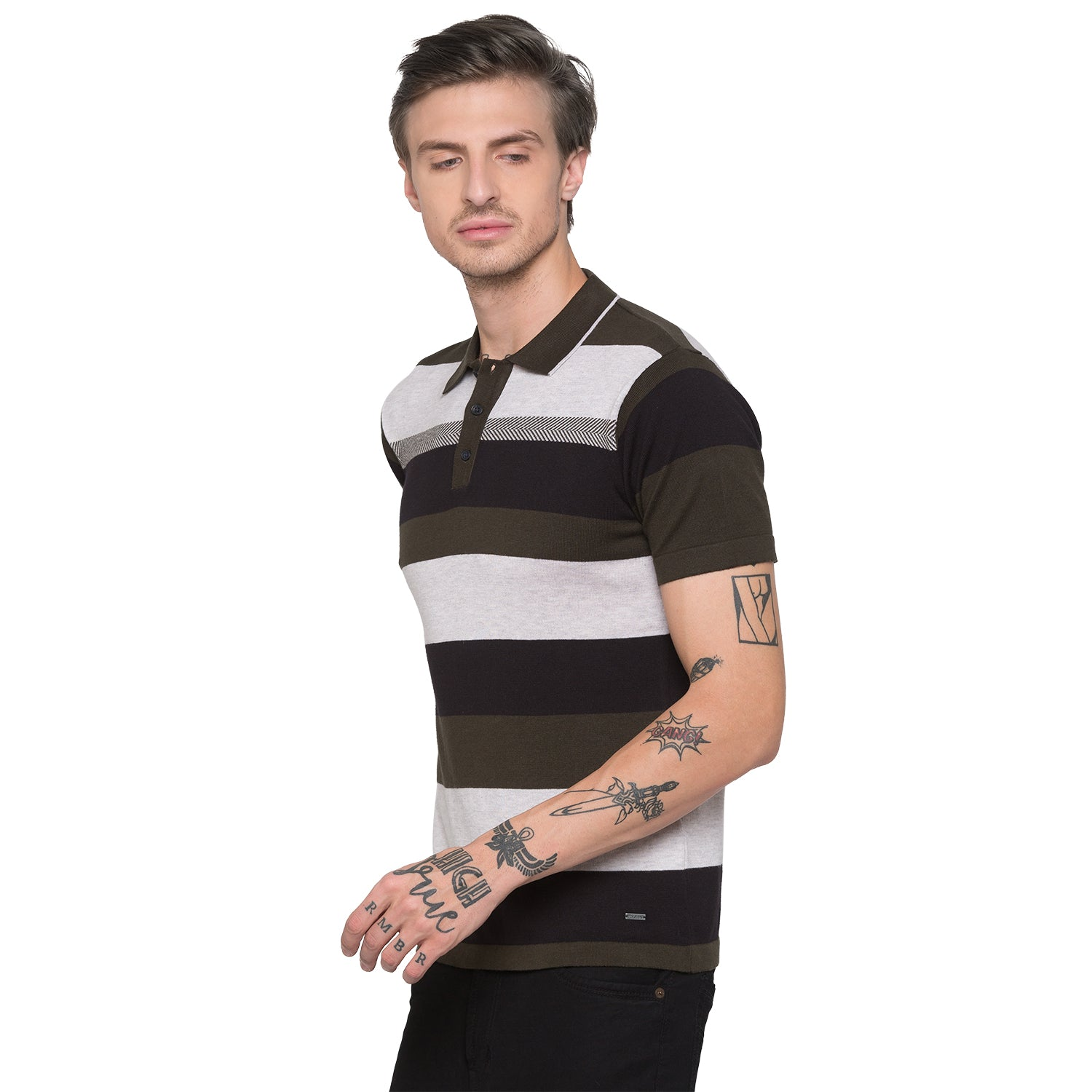 Globus Olive Striped Polo T-Shirt-2