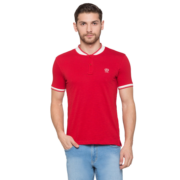 Globus Red Solid Henley T-Shirt1