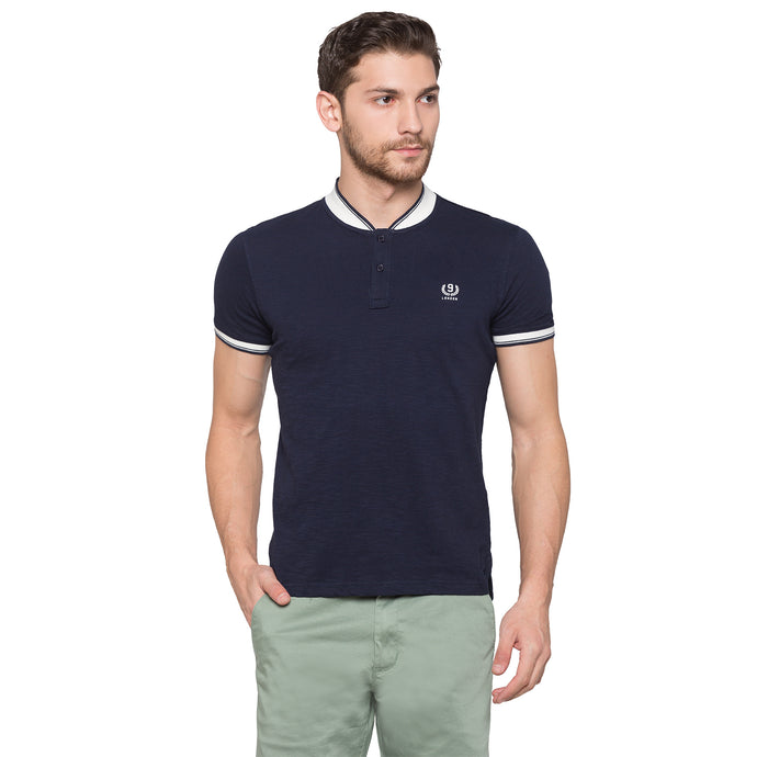 Globus Navy Blue Solid Henley T-Shirt1