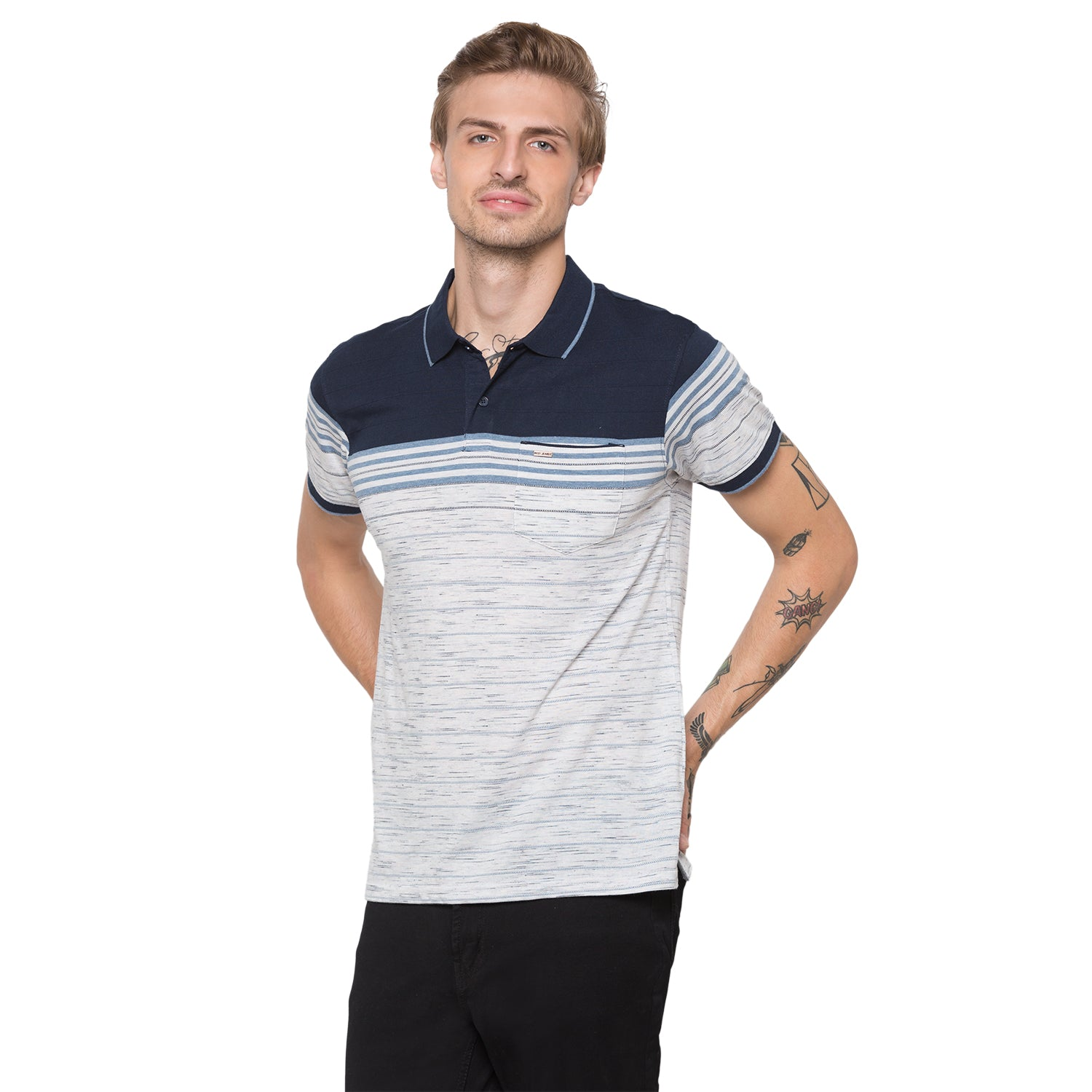 Globus Navy Blue Striped Polo T-Shirt-1