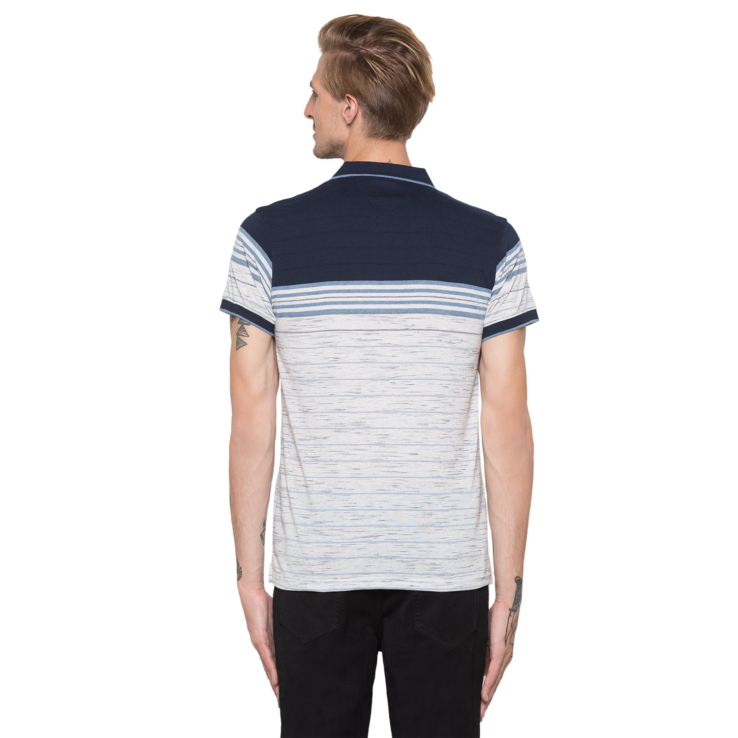 Globus Navy Blue Striped Polo T-Shirt-3
