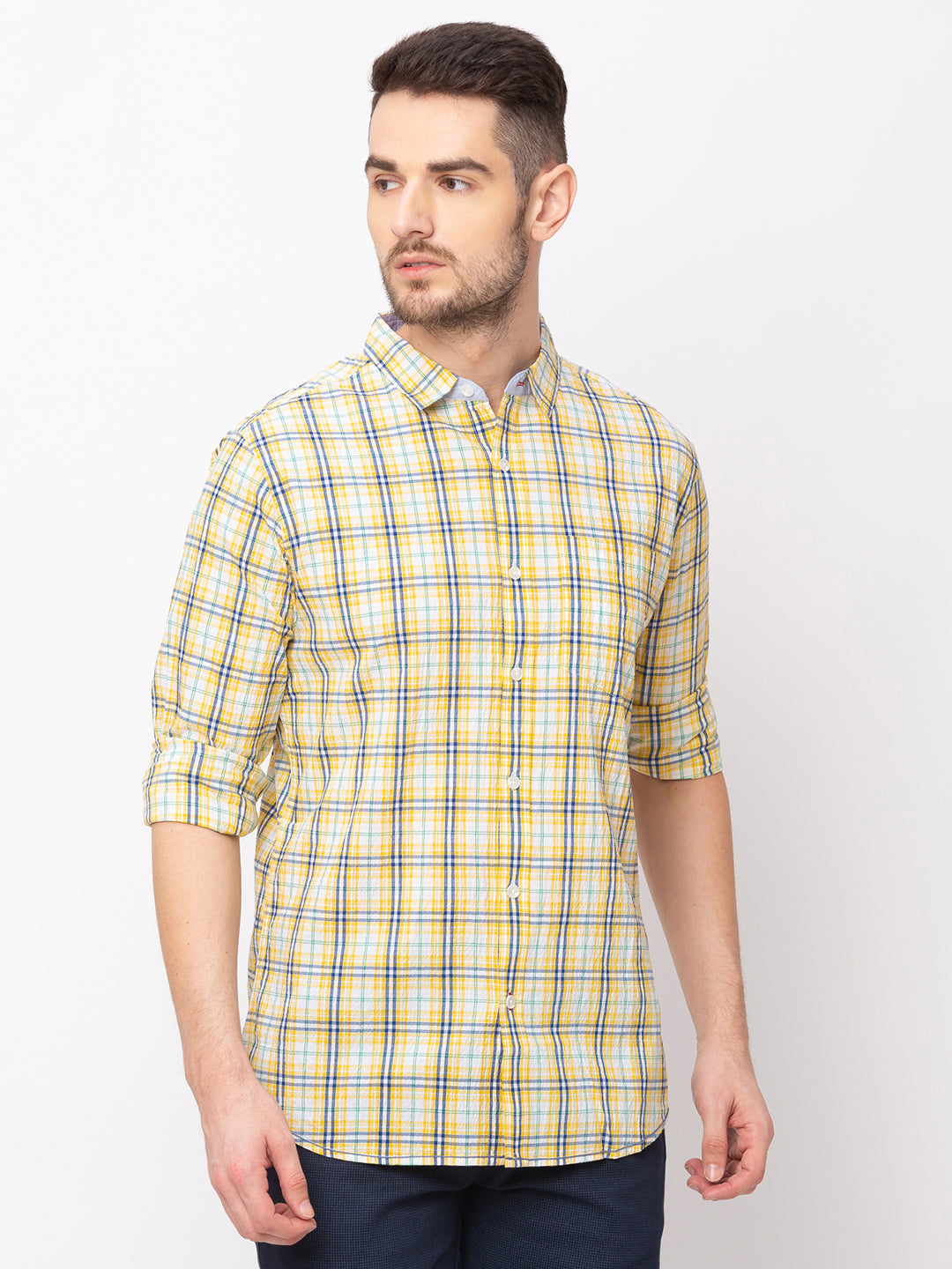 Globus Yellow Checked Shirt-1
