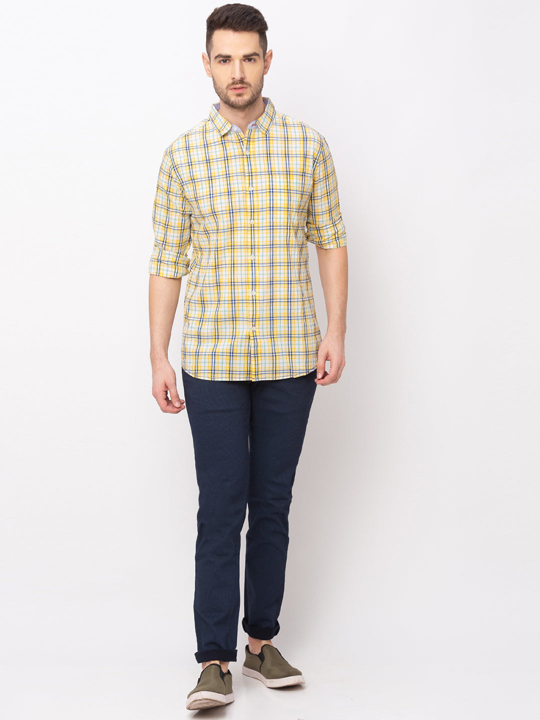 Globus Yellow Checked Shirt-5