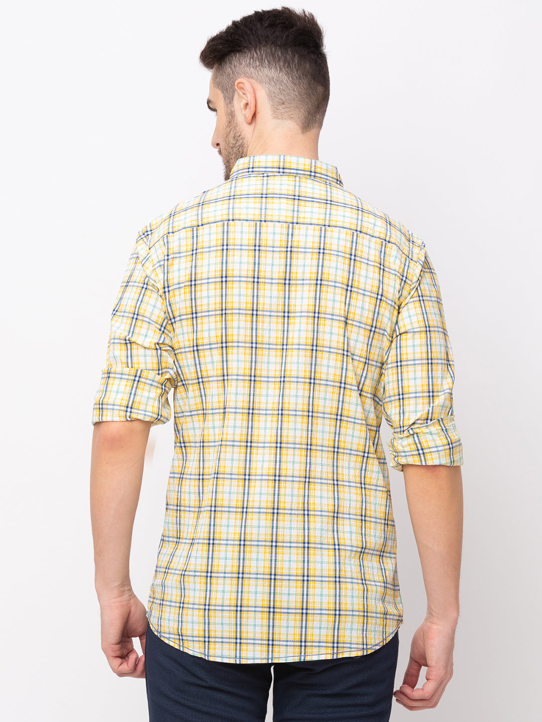 Globus Yellow Checked Shirt-3