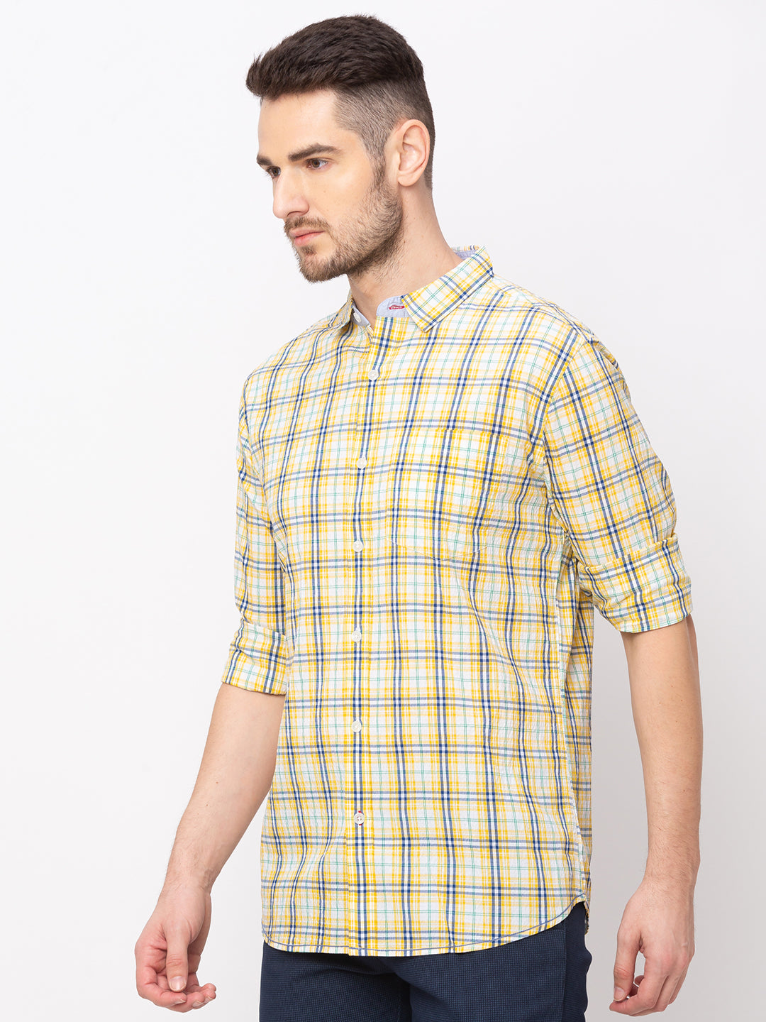 Globus Yellow Checked Shirt-2