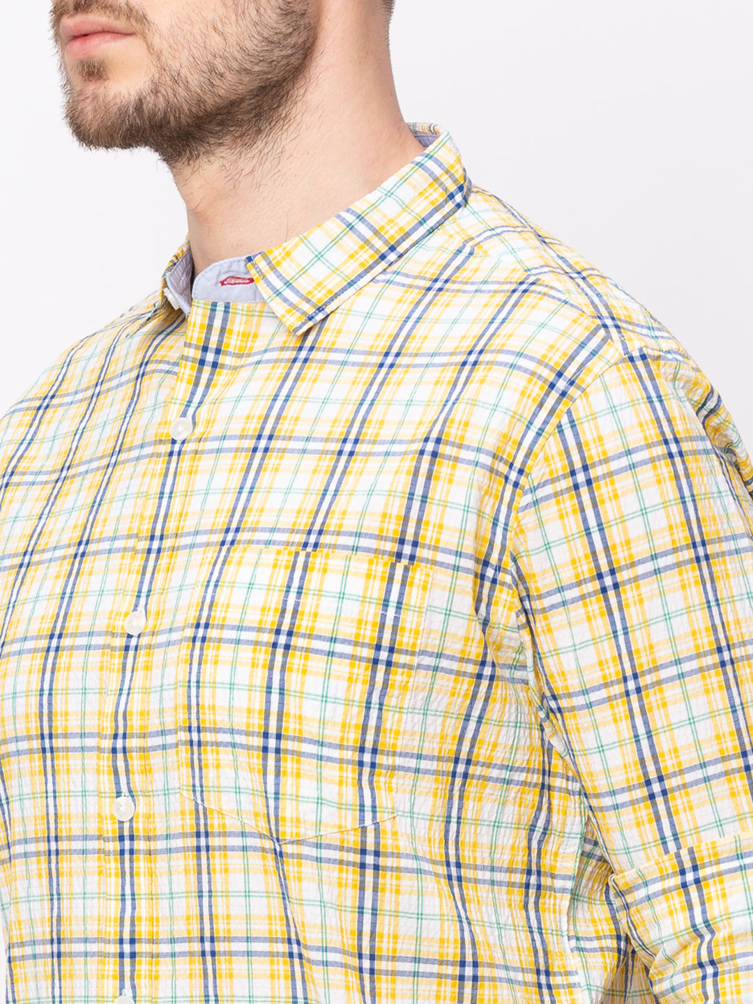 Globus Yellow Checked Shirt-4