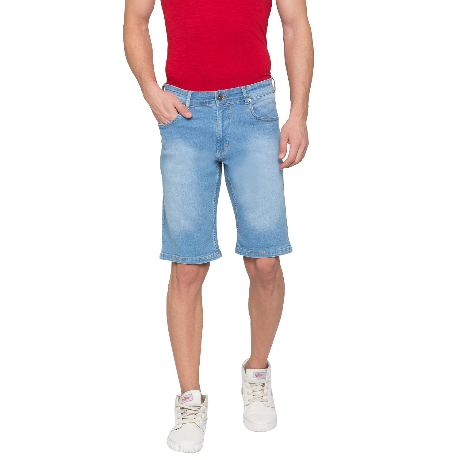 Globus Blue Solid Shorts-1