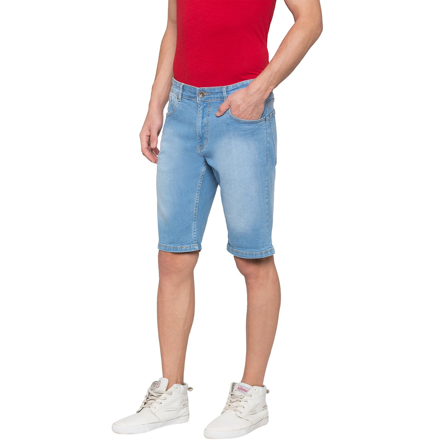 Globus Blue Solid Shorts-2