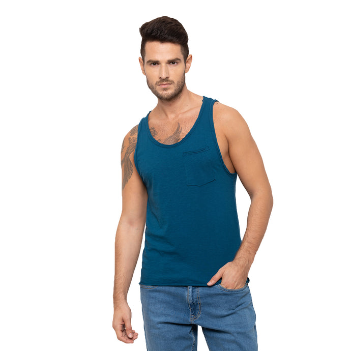Globus Blue Solid T-Shirt-1