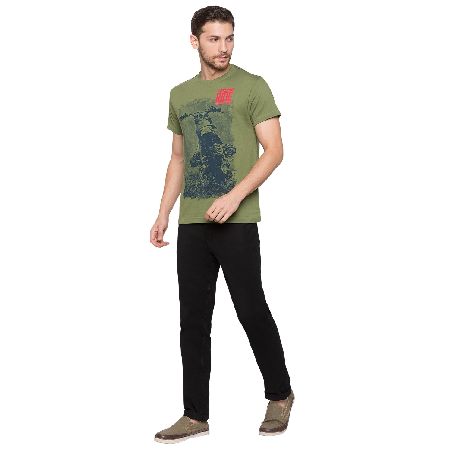 Globus Olive Graphic T-Shirt4