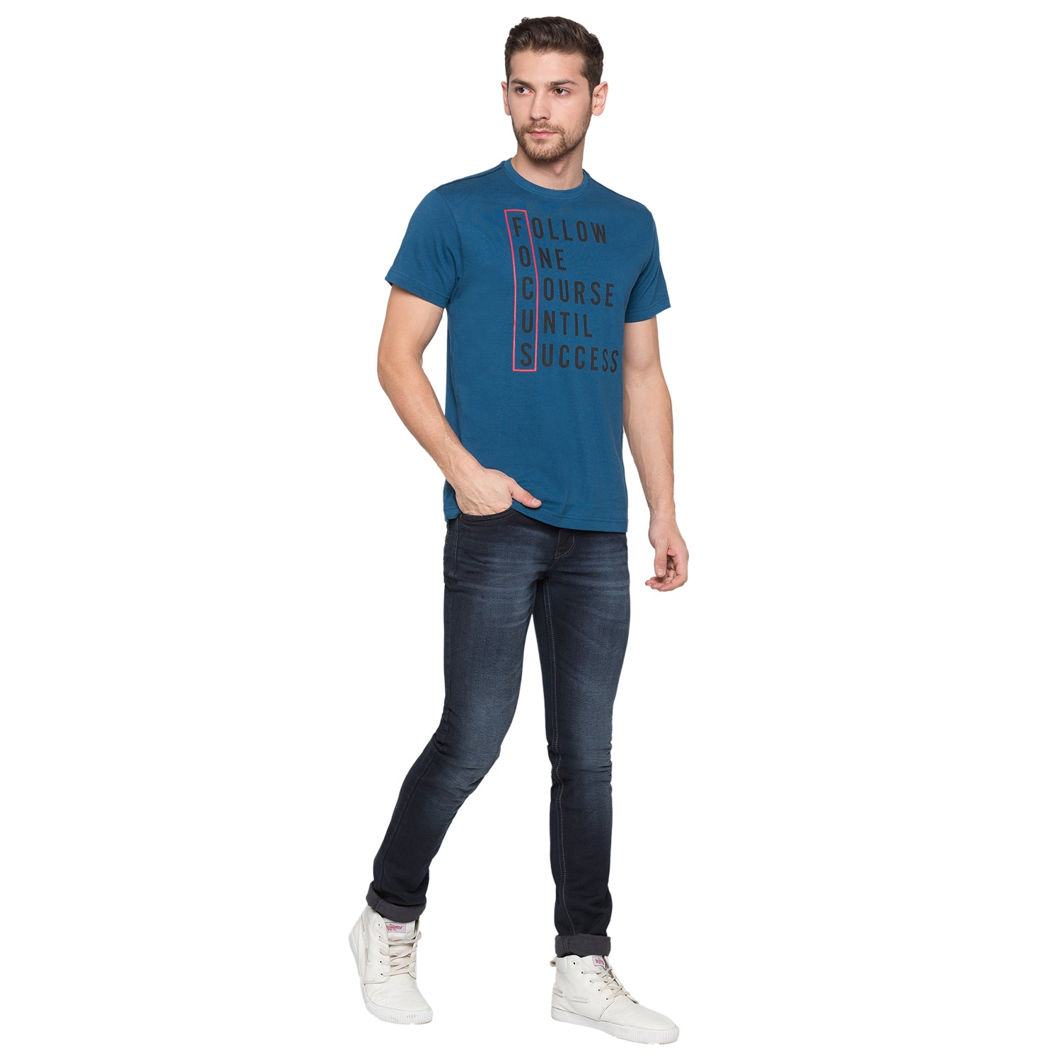 Globus Blue Typography T-Shirt4