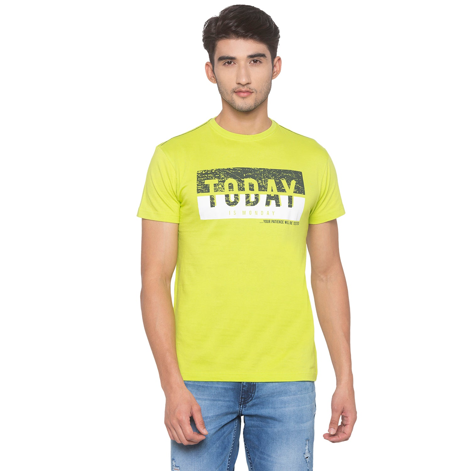 Lime Green Printed T-Shirt-1