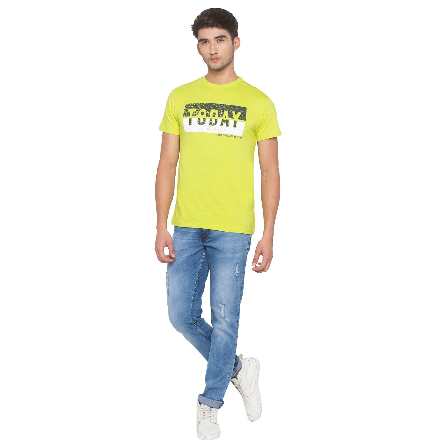 Lime Green Printed T-Shirt-4