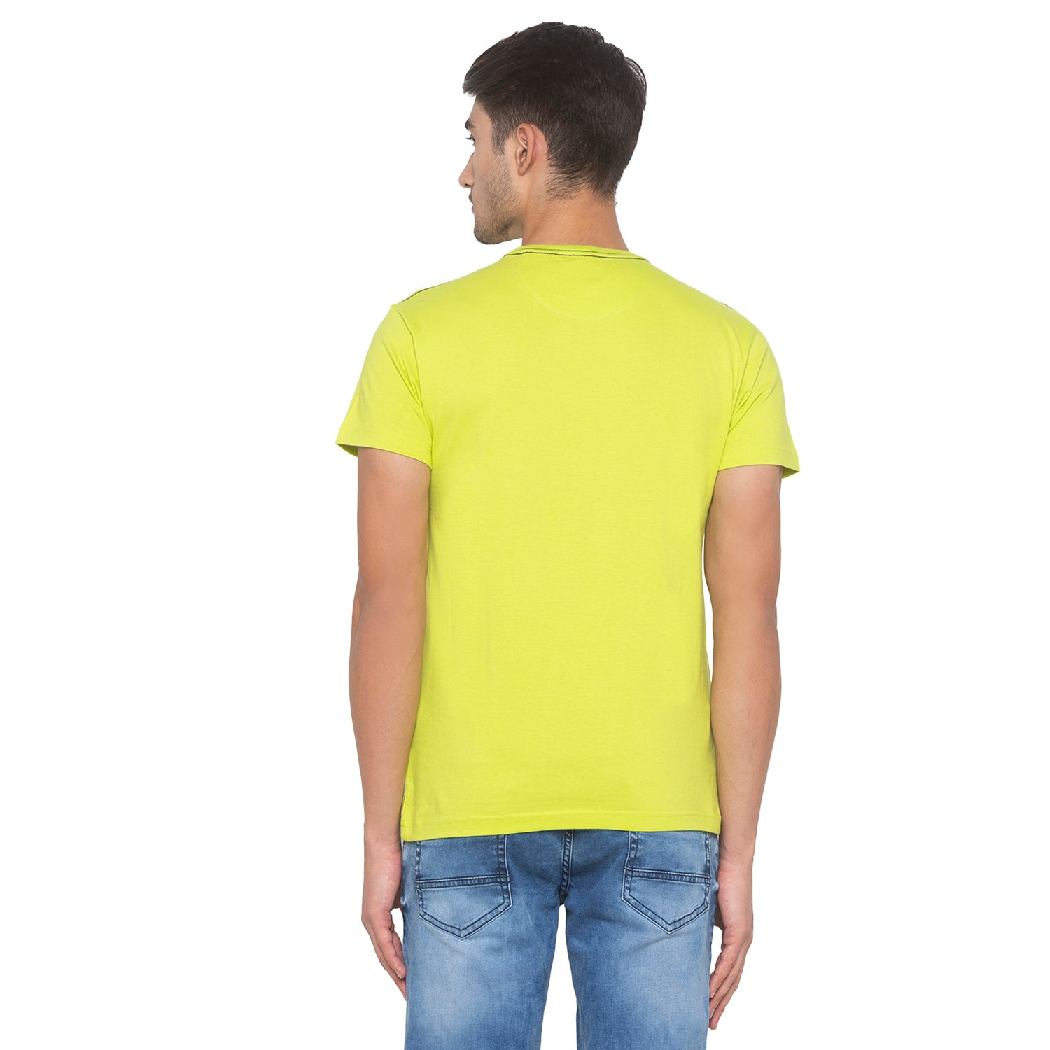 Lime Green Printed T-Shirt-3