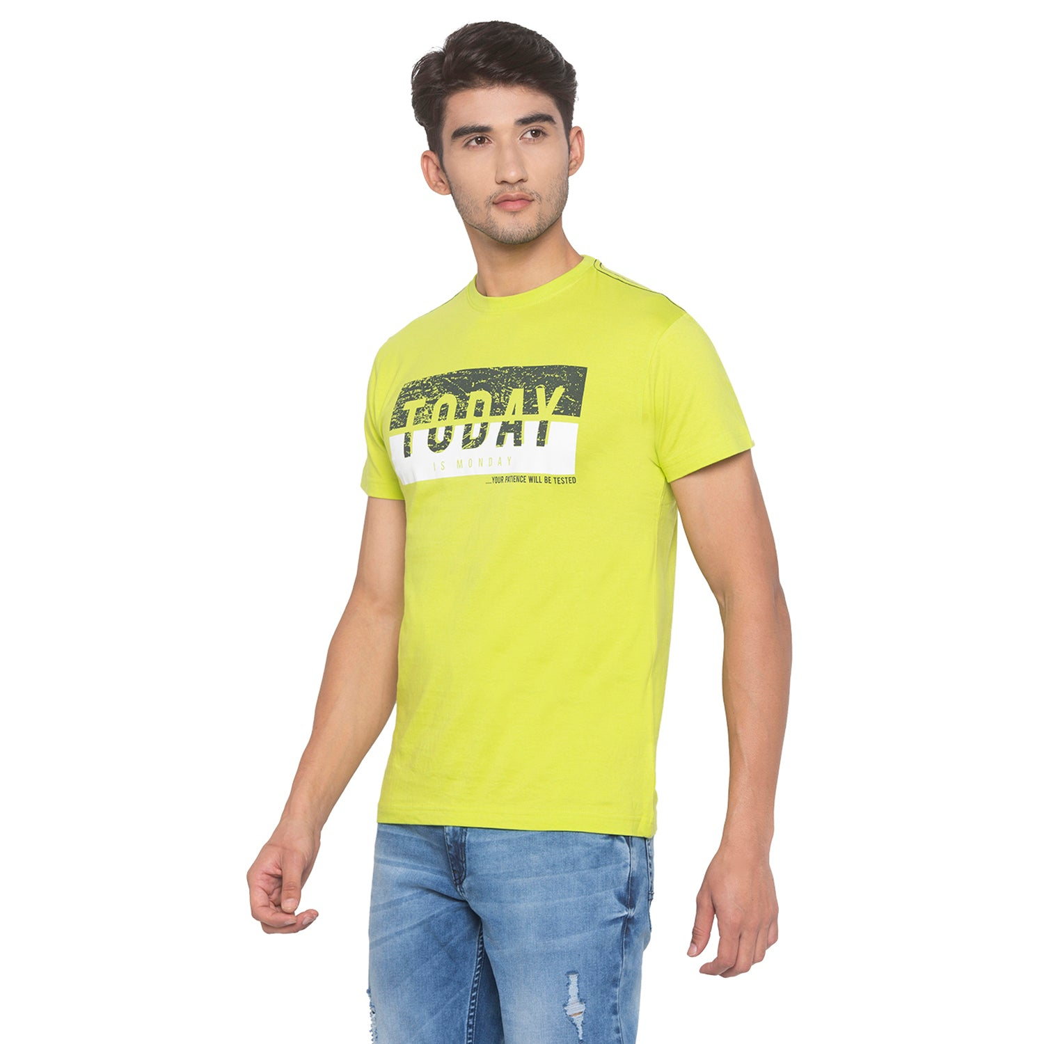 Lime Green Printed T-Shirt-2