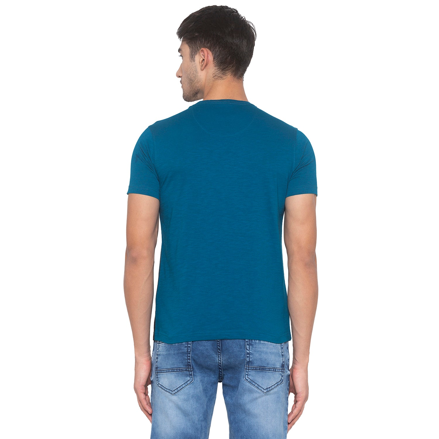 Ink Blue Printed T-Shirt-3