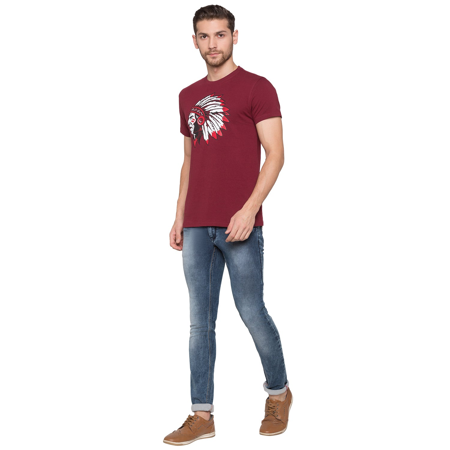 Globus Maroon Graphic T-Shirt4