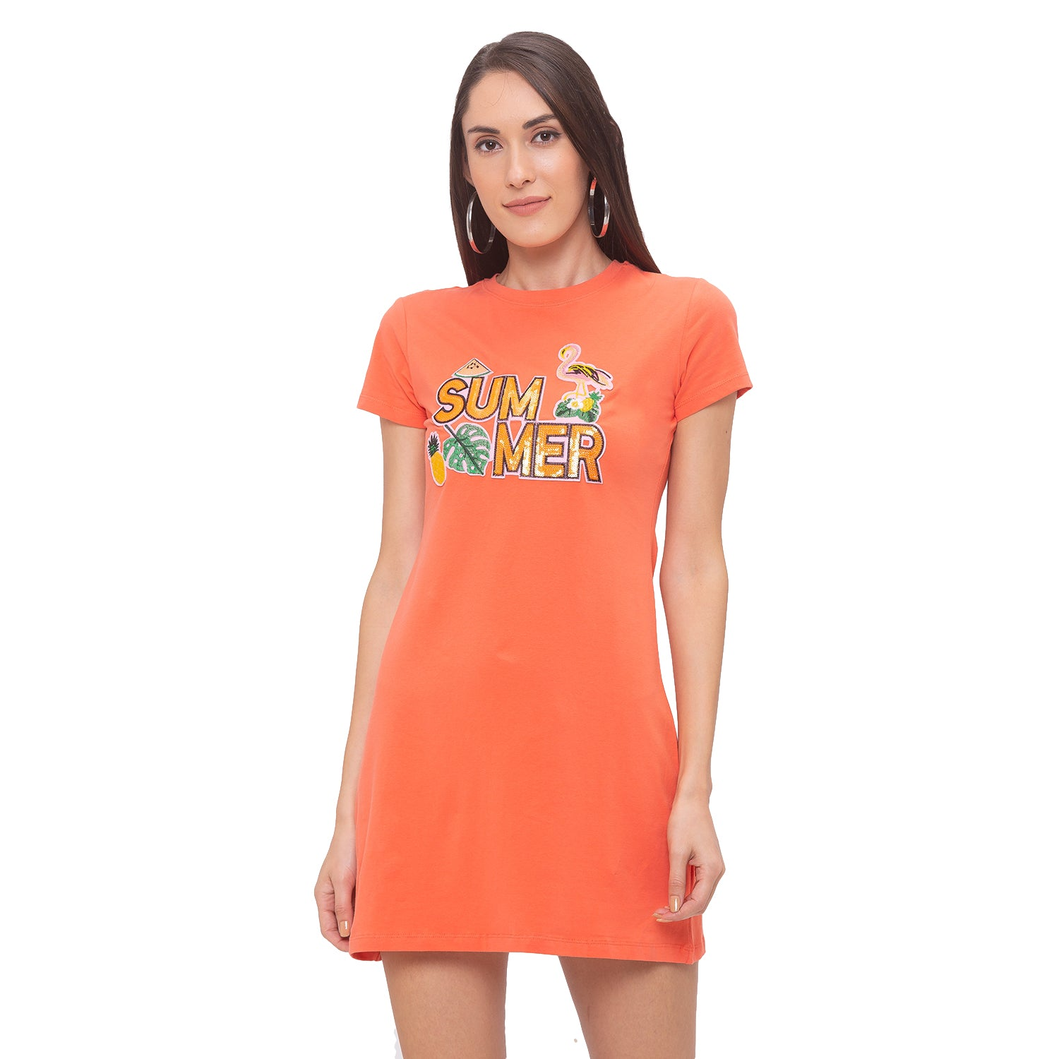 Globus Orange Printed Dress-1