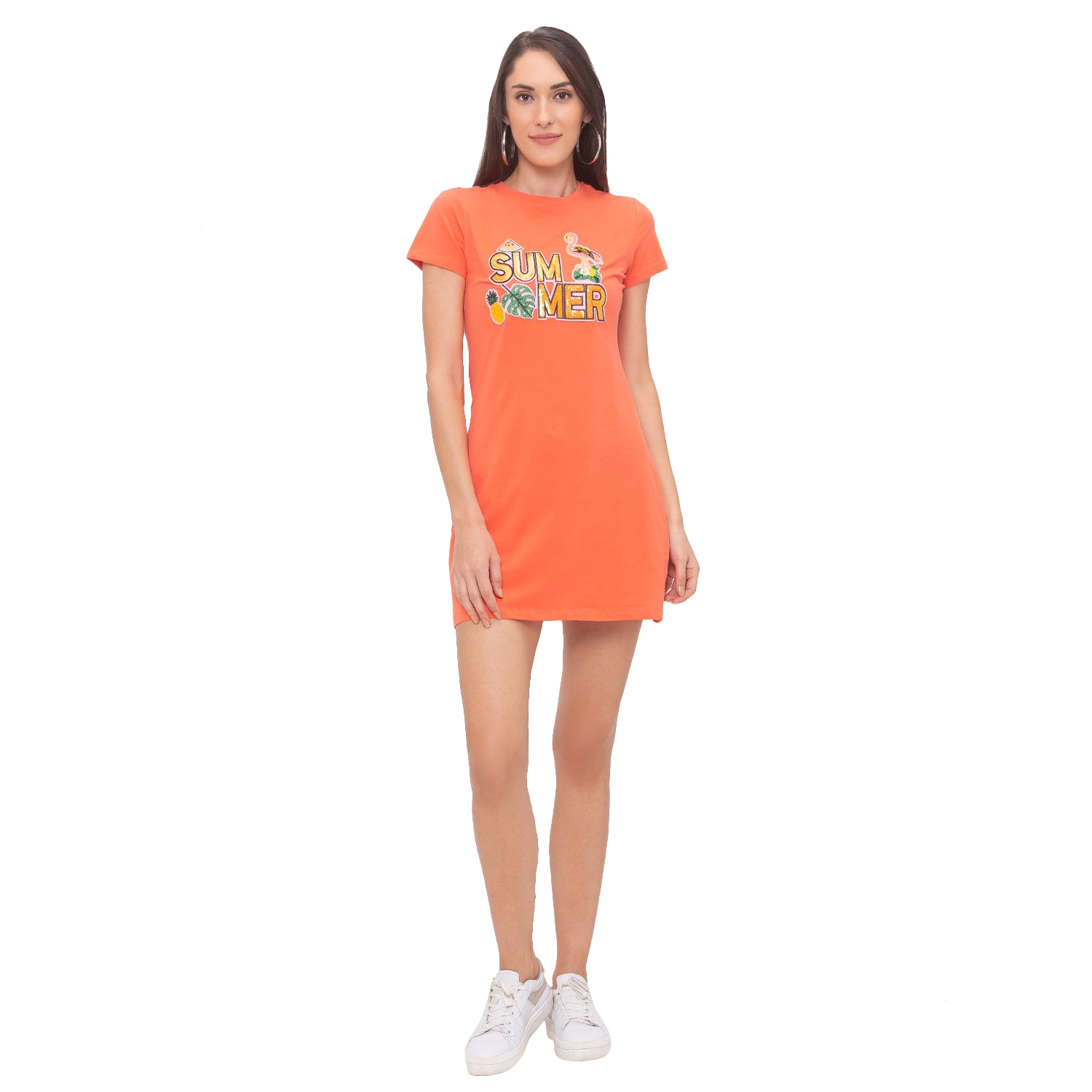 Globus Orange Printed Dress-4