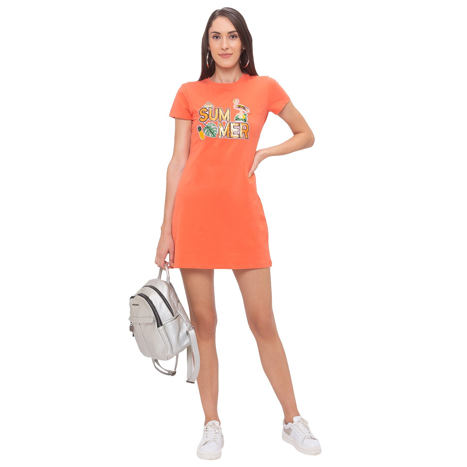 Globus Orange Printed Dress-6