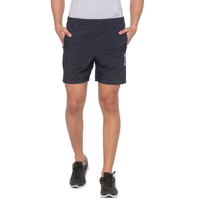 Navy Blue Solid Shorts-1