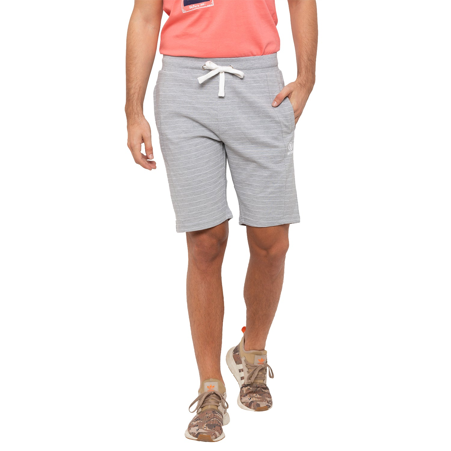 Globus Grey Striped Shorts-1