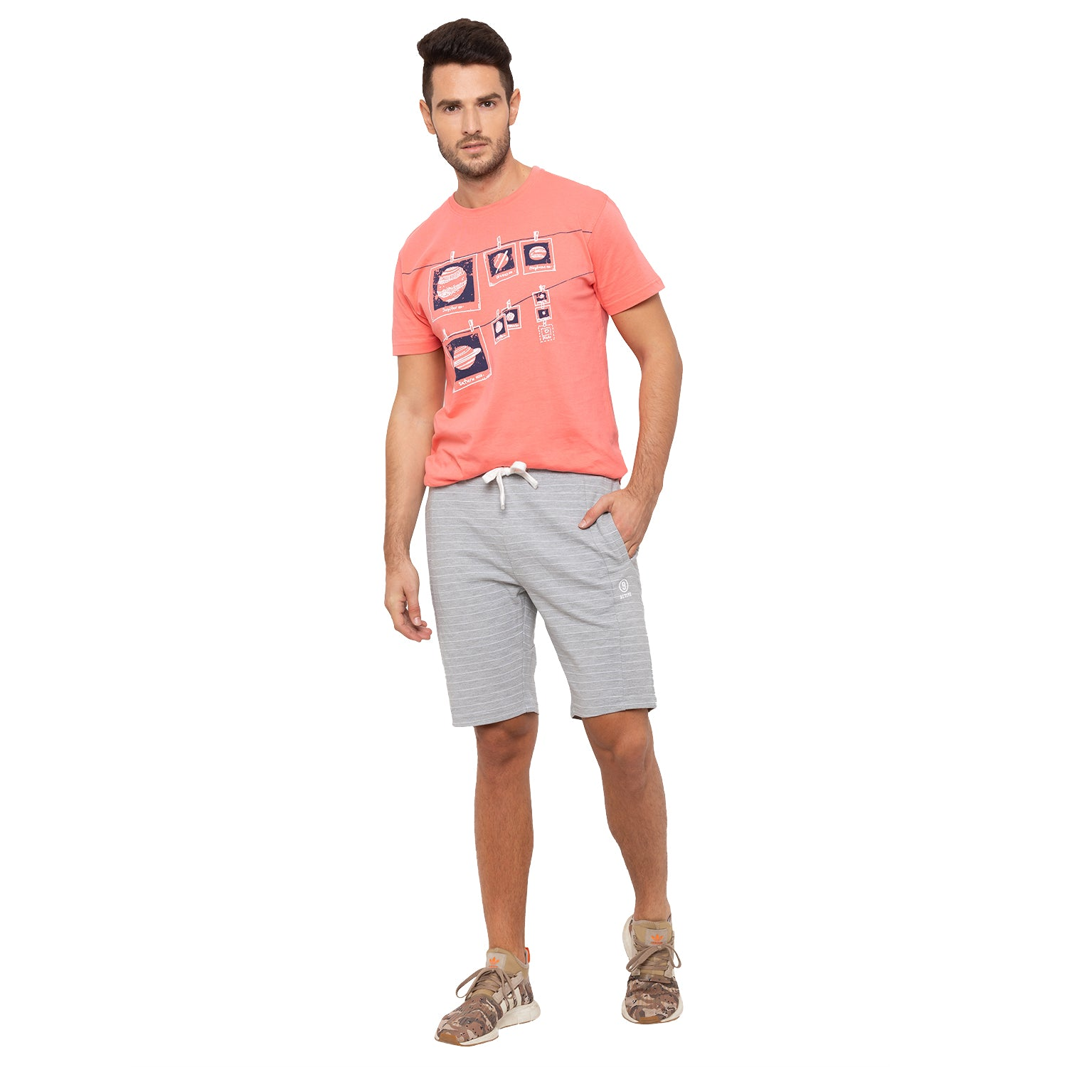 Globus Grey Striped Shorts-4