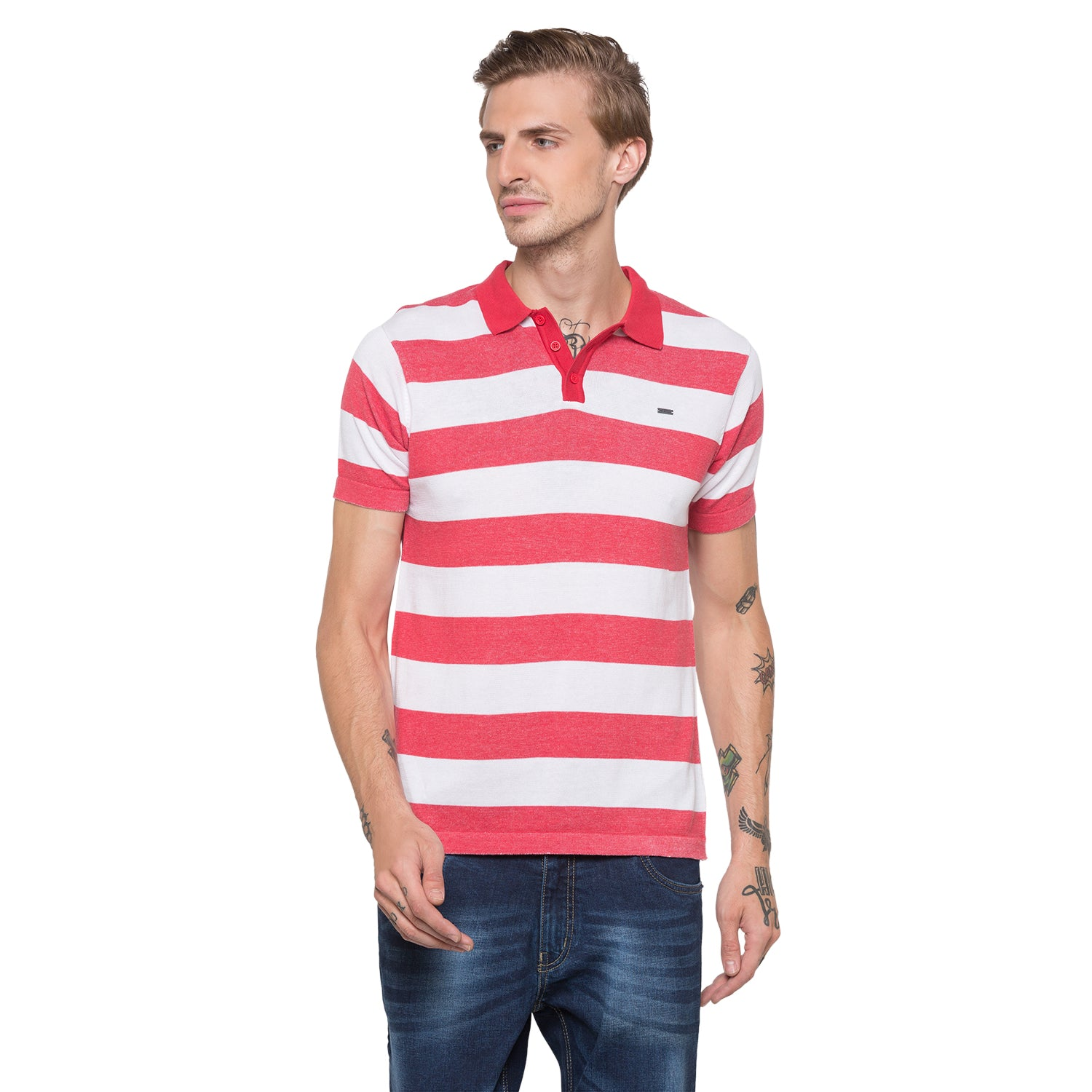 Globus White Striped Polo T-Shirt-1