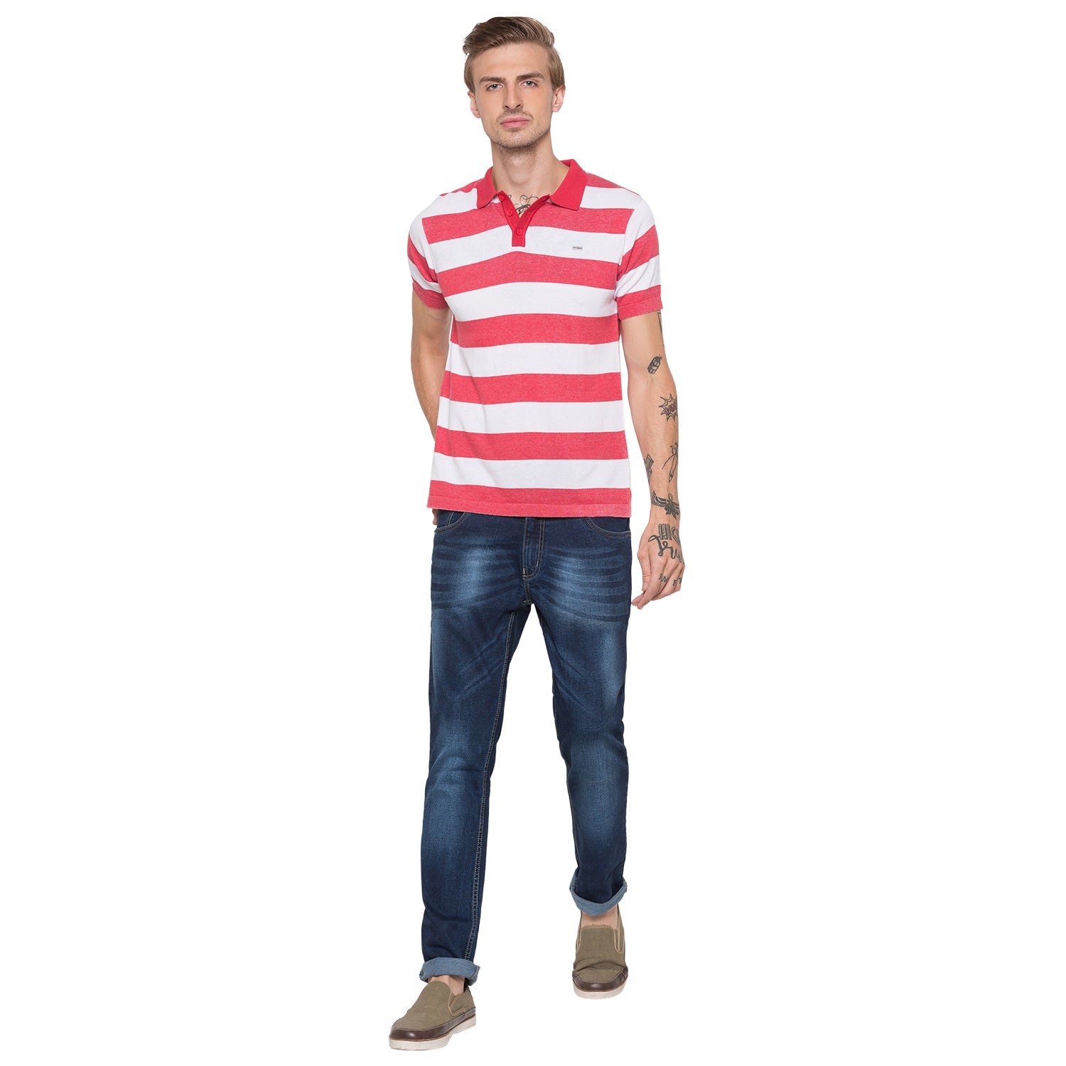 Globus White Striped Polo T-Shirt-4