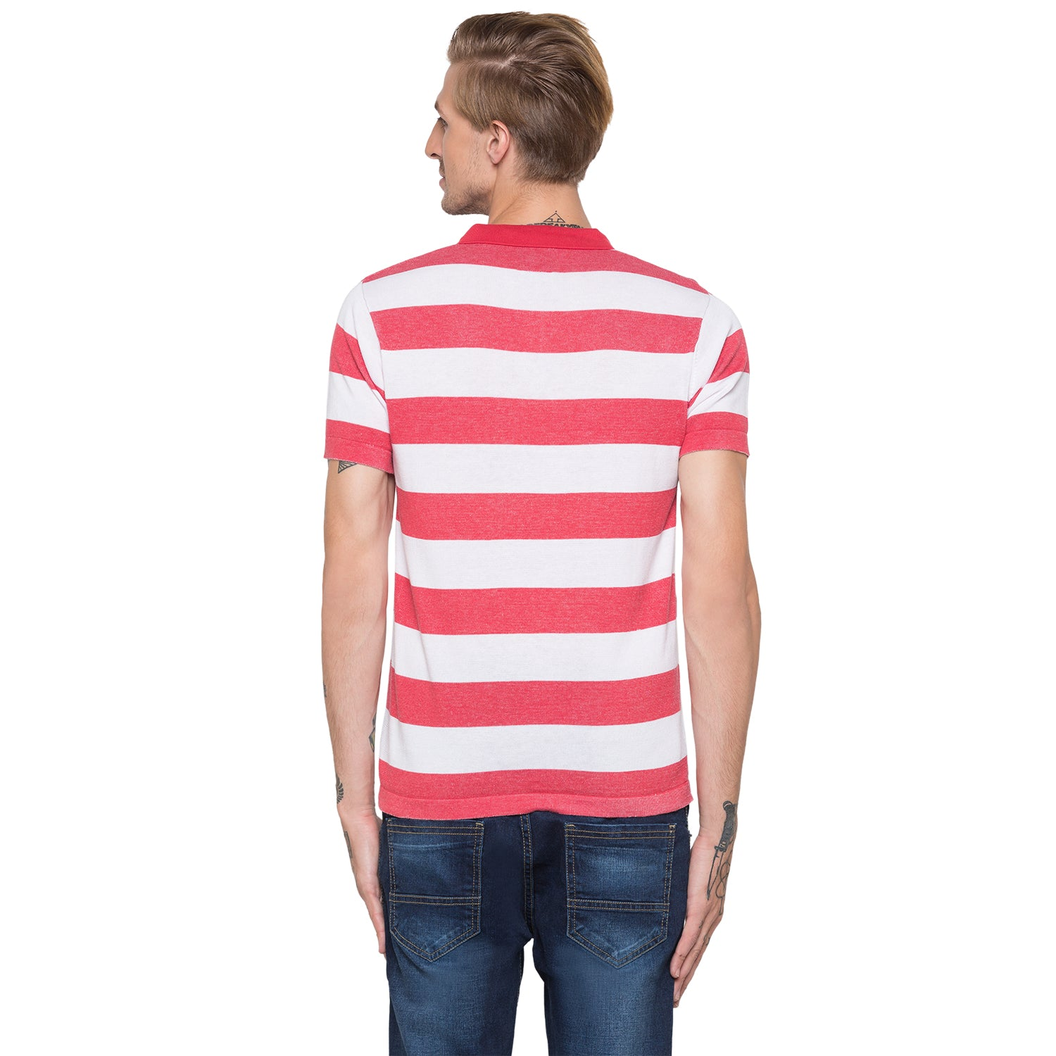 Globus White Striped Polo T-Shirt-3