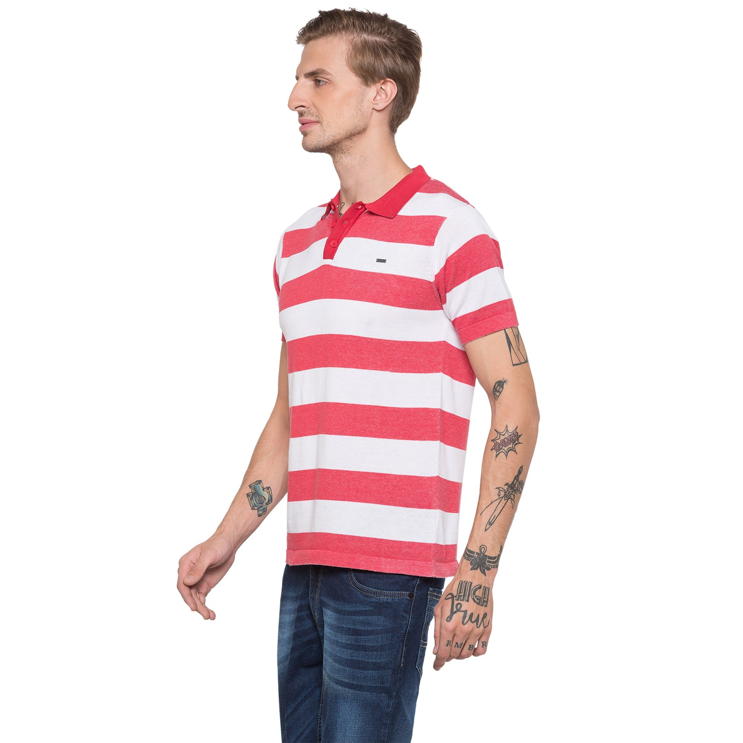 Globus White Striped Polo T-Shirt-2