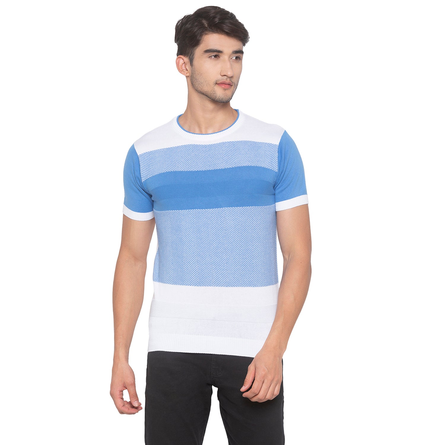 Powder Blue Solid T-Shirt-1