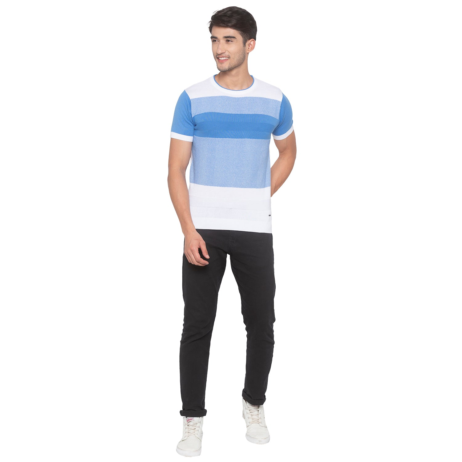 Powder Blue Solid T-Shirt-4