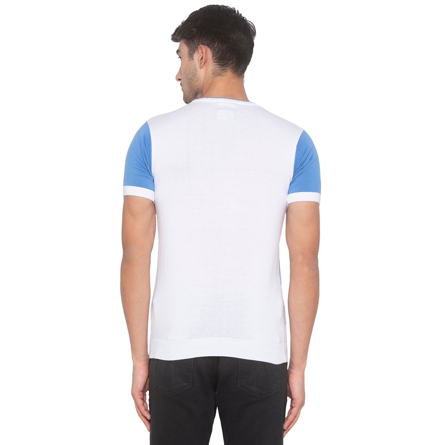 Powder Blue Solid T-Shirt-3