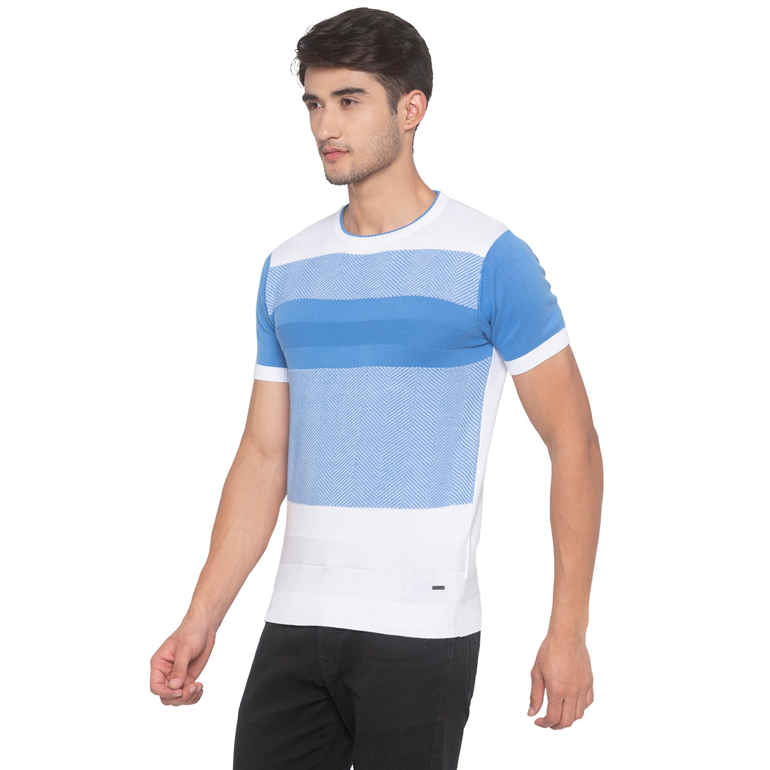 Powder Blue Solid T-Shirt-2