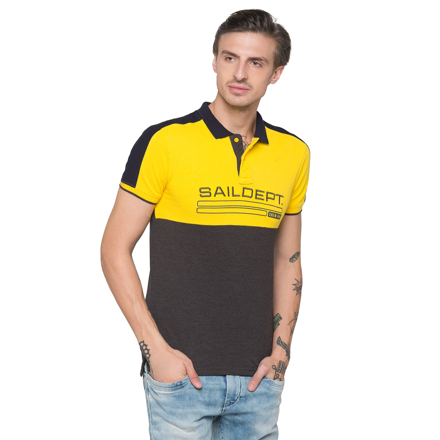 Globus Mustard Colourblocked Polo T-Shirt-1