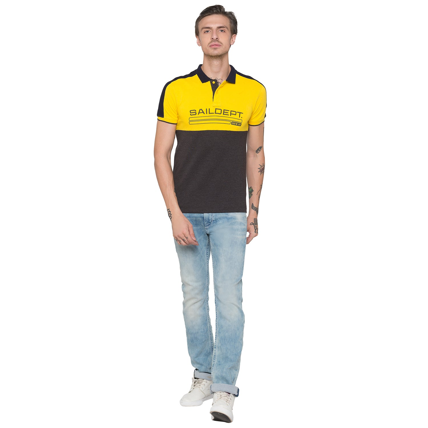 Globus Mustard Colourblocked Polo T-Shirt-4