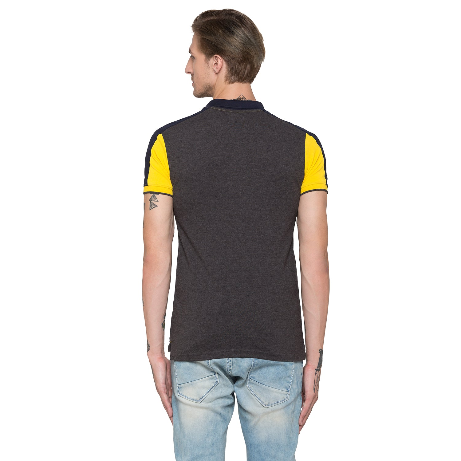 Globus Mustard Colourblocked Polo T-Shirt-3