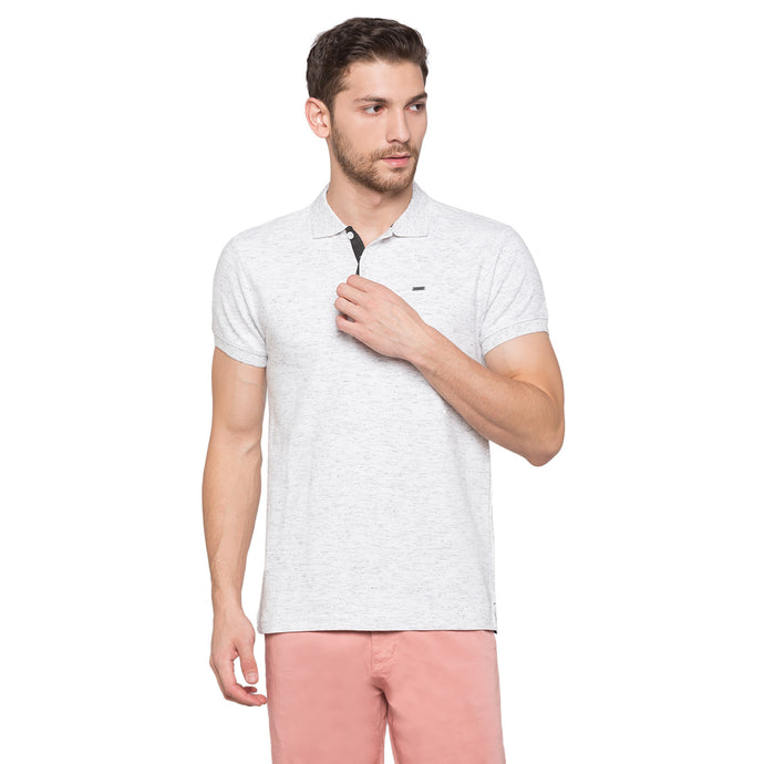 Globus White Self Design Polo T-Shirt1