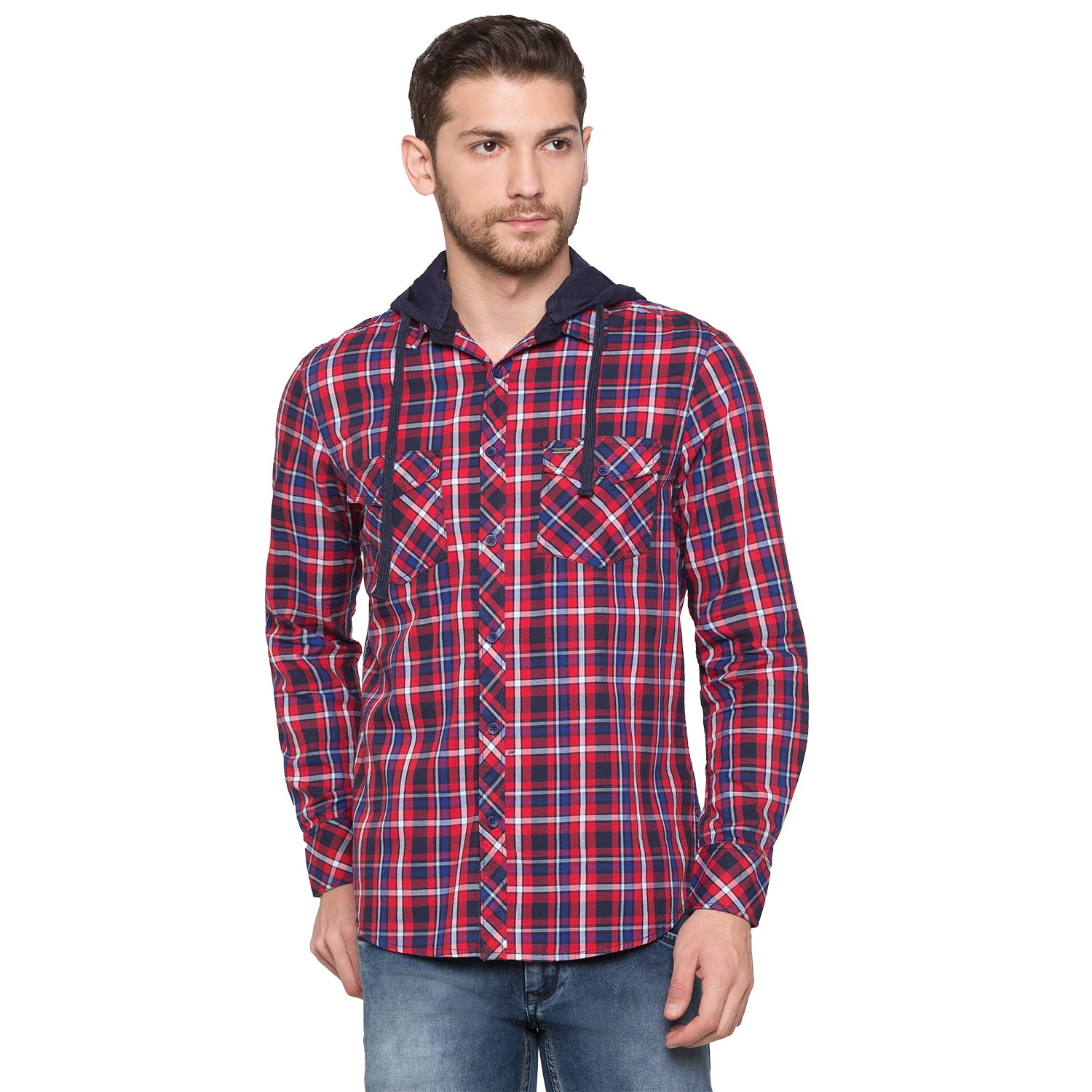 Globus Red & Navy Blue Checked Shirt-1