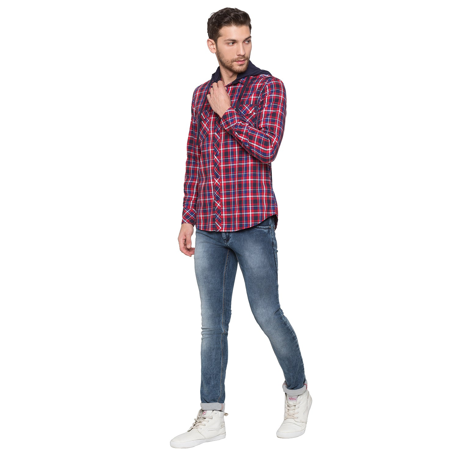 Globus Red & Navy Blue Checked Shirt-4