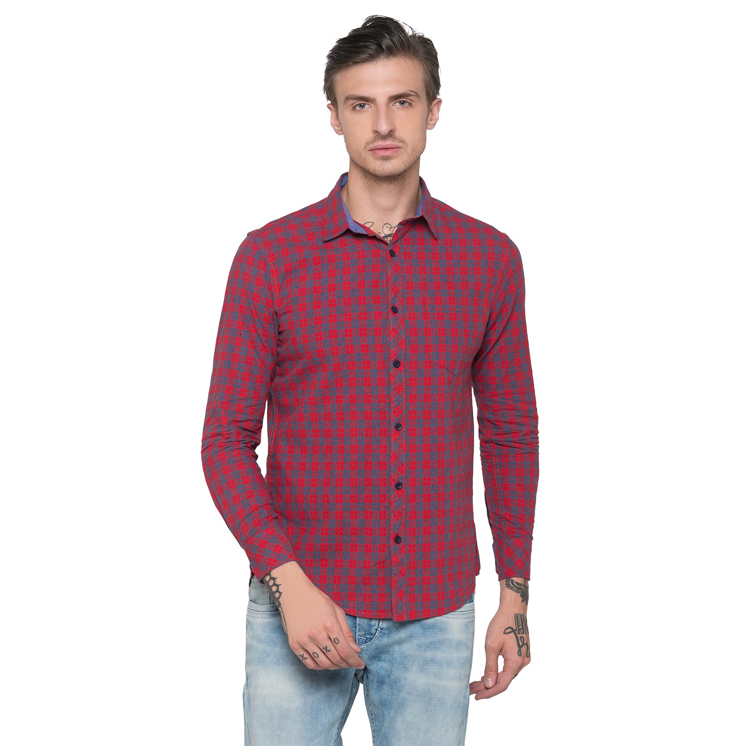 Globus Red & Navy Bue Checked Shirt-1