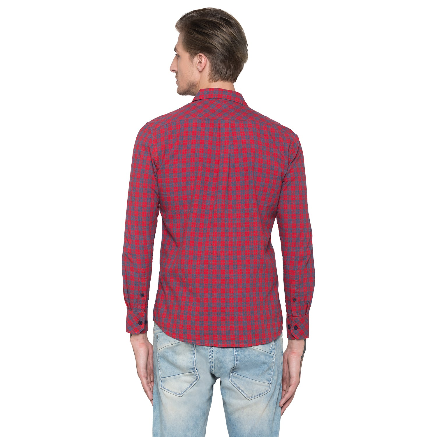 Globus Red & Navy Bue Checked Shirt-3