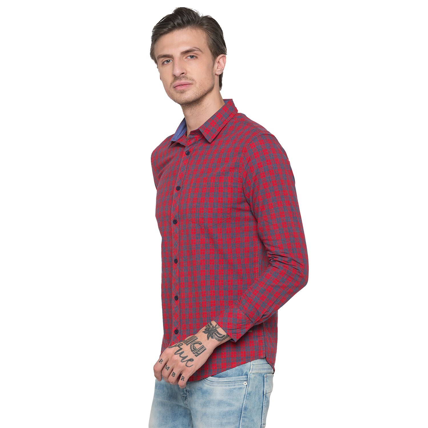 Globus Red & Navy Bue Checked Shirt-2