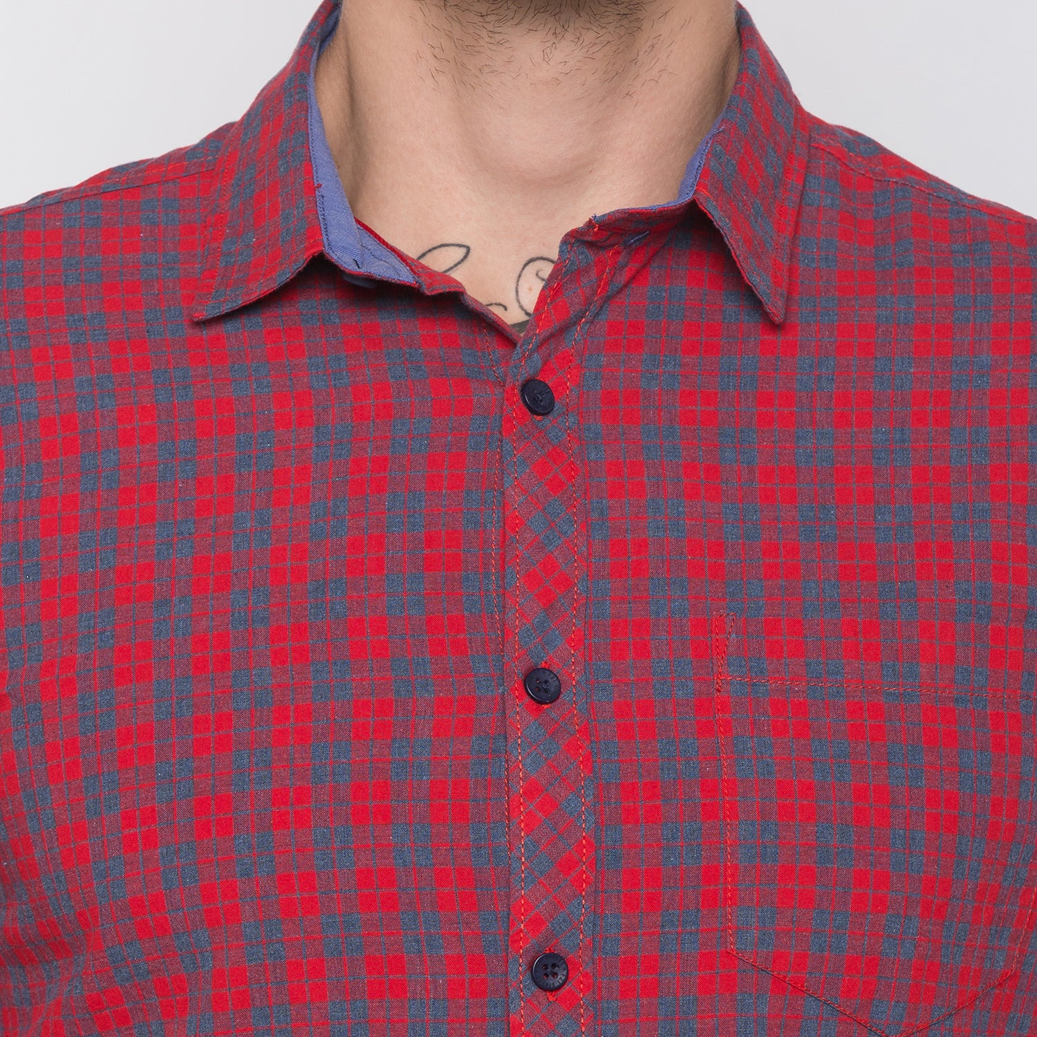 Globus Red & Navy Bue Checked Shirt-5