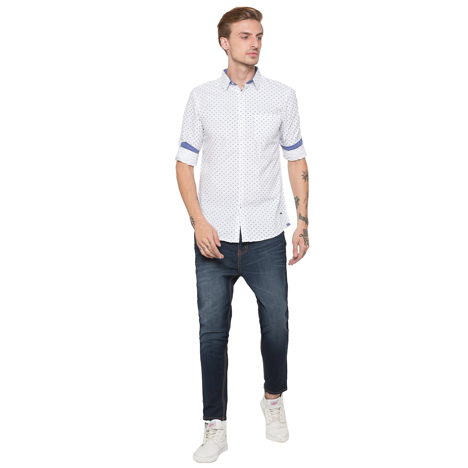 Globus White Printed Shirt-4