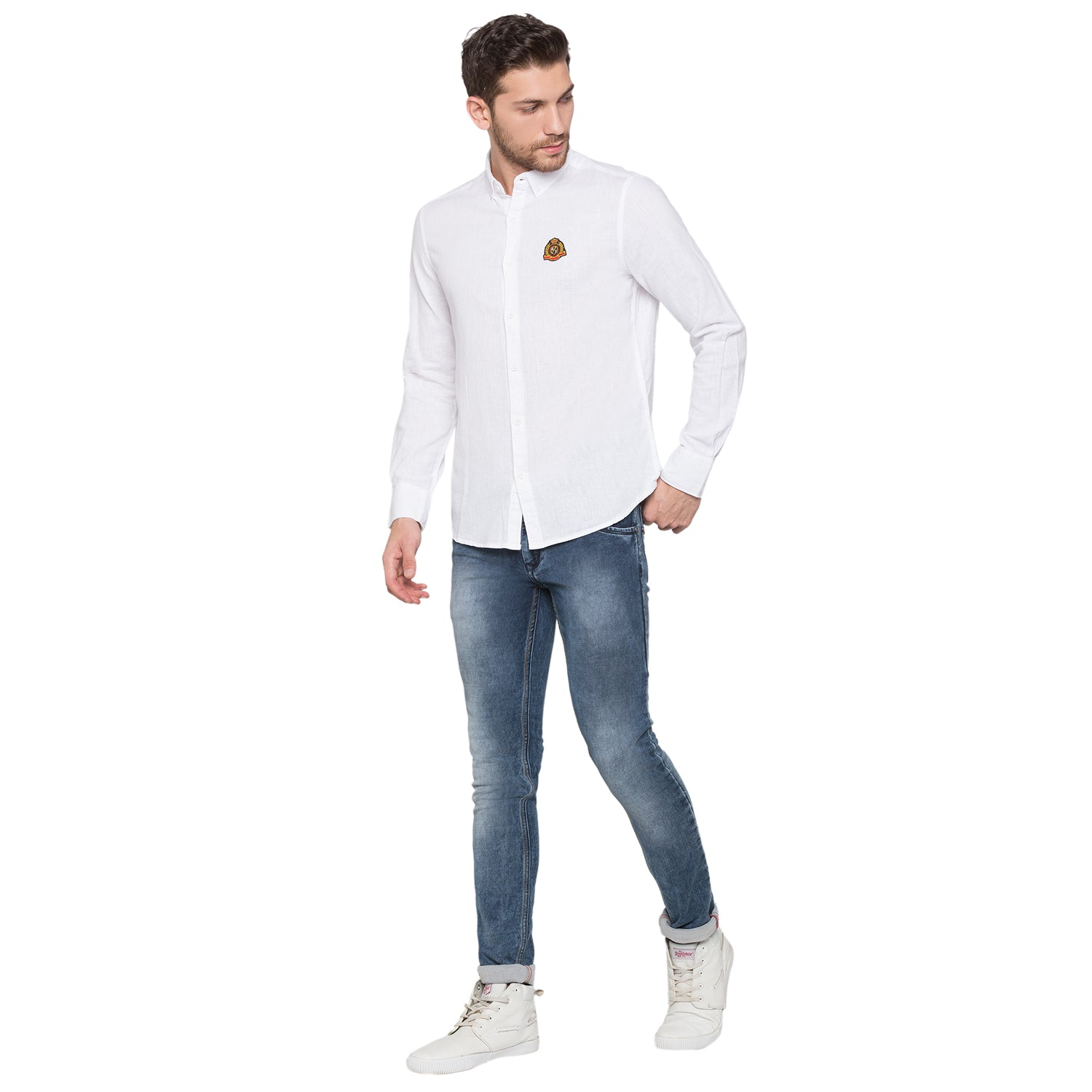 Globus White Solid Shirt4