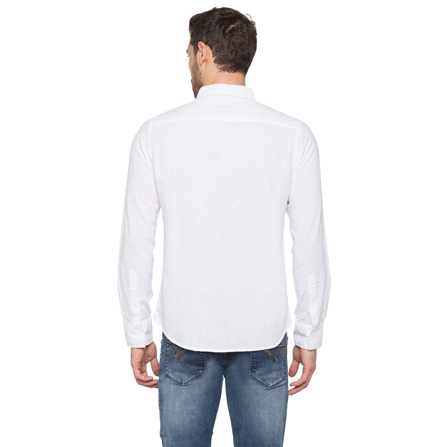 Globus White Solid Shirt3