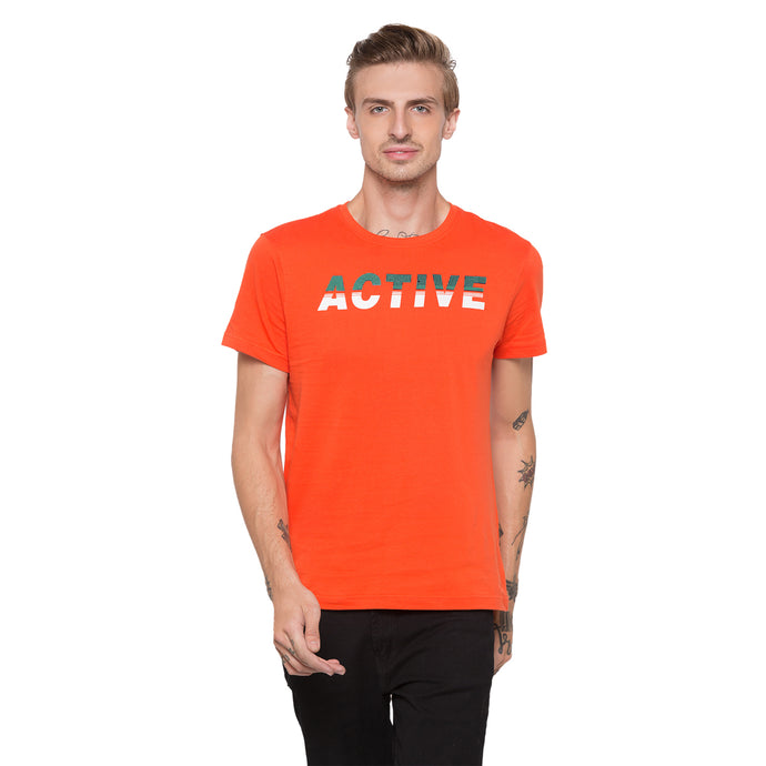Globus Orange Printed T-Shirt-1